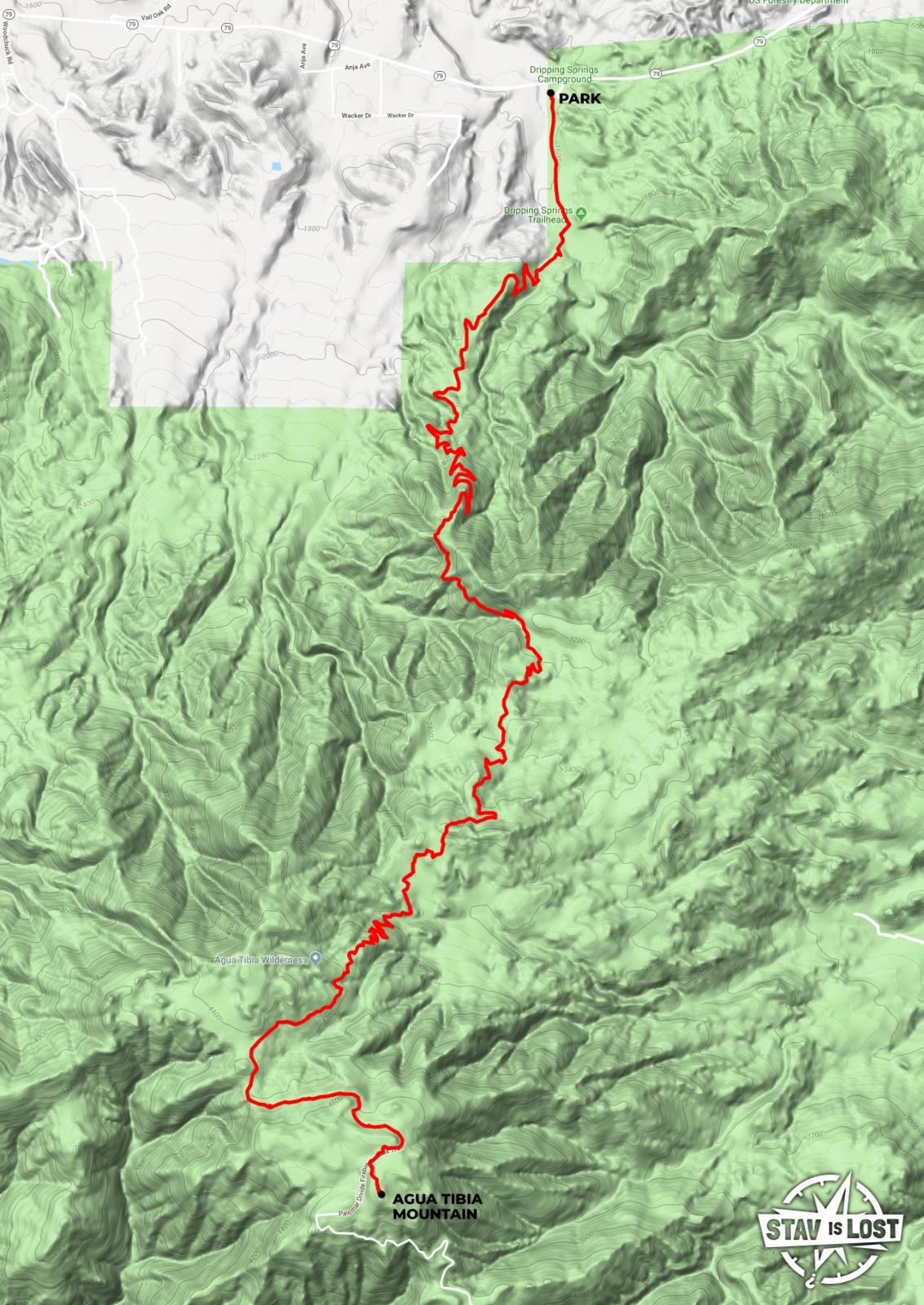 Hiking Agua Tibia Mountain via Dripping Springs Trail in